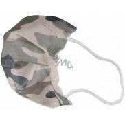 Rouška 3 vrstvá ochranná zdravotní netkaná jednorázová, nízký dýchací odpor pro děti 10 kusů Kamufláž