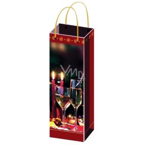 Anděl Taška vánoční dárková na lahev červená skleničky,svíčky F 36 x 12 x 9 cm