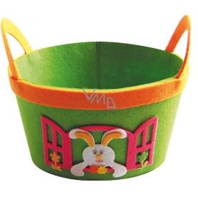 Košík z filcu zelený se zajíčkem 22 cm