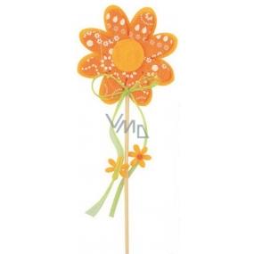 Květ z filcu oranžový s bílým dekorem 8 cm + špejle