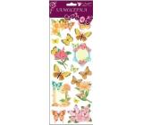 Samolepky motýlci a květiny s glitry žlutí 34,5 x 12,5 cm