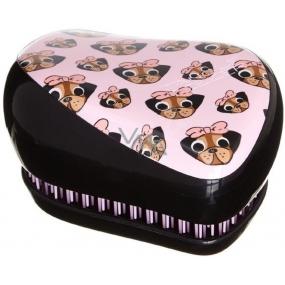 Tangle Teezer Compact Pug Love profesionální kartáč na vlasy černo-růžový s pejsky