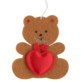 Medvídek z filcu se srdíčkem hnědý na zavěšení 6,5 cm