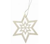 Dřevěná hvězda závěsná 10cm bílá
