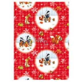 Ditipo Vánoční balicí papír pro děti červený se zvířátky 100 x 70, 2 kusy