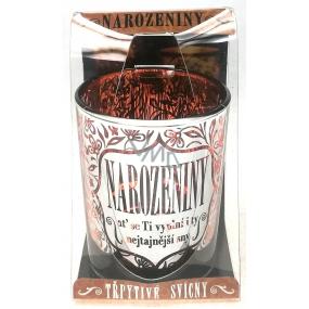 Albi Třpytivý svícen ze skla na čajovou svíčku Narozeniny, 7 cm