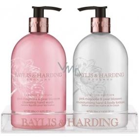 Baylis & Harding Růžová magnólie a Hruškový květ tekuté mýdlo 500 ml + mléko na ruce 500 ml, kosmetická sada