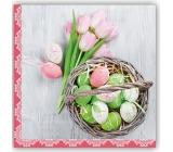 Aha Velikonoční papírové ubrousky 3 vrstvé 33 x 33 cm 20 kusů kraslice, růžové tulipány