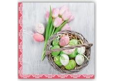 Aha Velikonoční papírové ubrousky kraslice, růžové tulipány 33 x 33 cm 3 vrstvé 20 kusů