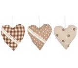 Srdce látkové na zavěšení 10 cm 1 kus