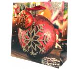 Epee Dárková papírová taška 17 x 17 x 6 cm Vánoční Červenozlatá baňka s vločkou CD LUX malá