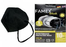 Famex Respirátor ústní ochranný 5-vrstvý FFP2 obličejová maska černá 10 kusů