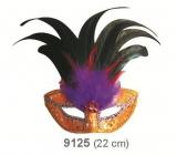 Škraboška plesová zlatá s černým peřím 30 cm vhodná pro dospělé