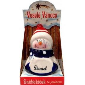 Nekupto Sněhuláček se jménem Daniel Vánoční dekorace 010 rozměr 8 cm