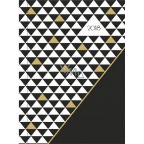 Albi Diář 2018 týdenní Černobílozlaté trojúhelníky 12,5 cm × 17 cm × 1,1 cm