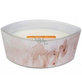 WoodWick Vanilla Sol - Vanilka a mořská sůl Artisan vonná svíčka s dřevěným širokým knotem a víčkem sklo loď 453 g