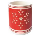 Svícen keramický červený s vločkou 9 cm