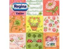 Regina Velikonoční papírové ubrousky Happy Easter - barevné čtverce 1 vrstvé 33 x 33 cm 20 kusů