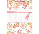 Ditipo Dárková kraftová taška střední 22 x 10 x 29 cm růžové květy