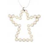 Anděl kovový závěsný s bílými perlami 9 cm