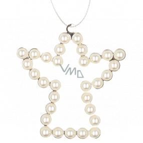 Anděl kovový závěsný s perlami 9 cm