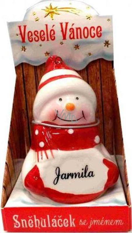 Nekupto Sněhuláček se jménem Jarmila Vánoční dekorace 027 rozměr 8 cm