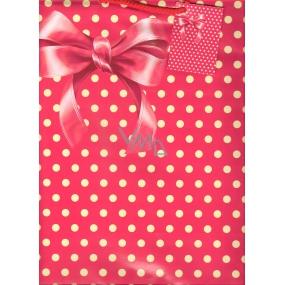 Nekupto Dárková papírová taška velká 32,5 x 26 x 13 cm Červená mašle 1 kus 841 30 BL