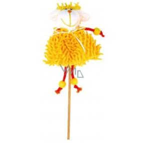 Zápich střapatý žlutý ovečka 12 cm + špejle