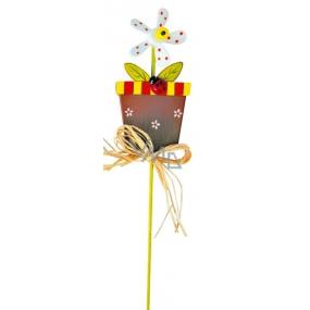 Zápich květináč s bílým větrníkem 9 cm + špejle