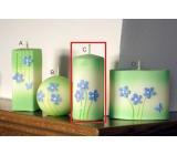 Lima Rozkvetlá louka svíčka světle zelená válec 60 x 120 mm 1 kus