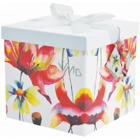 Dárková krabička skládací s mašlí 03 Barevné květy M+ 17 x 17 x 17 cm