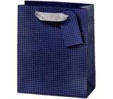 BSB Luxusní dárková papírová taška na láhev 36 x 10,5 x 10 cm Tmavě modrá s puntíky LDT 374-F