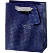 BSB Luxusní dárková papírová taška 36 x 10,5 x 10 cm Tmavě modrá s puntíky LDT 374-F