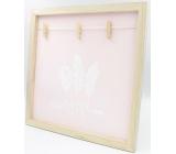 Nekupto Home Decor Dřevěná deska se 3 kolíčky růžová 30 x 30 cm