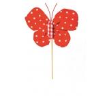Motýl látkový zápich 8 cm + špejle puntíky