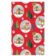Ditipo Vánoční balicí papír pro děti červený lišky v kruhu 100 x 70 cm 2 kusy