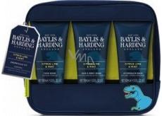 Baylis & Harding Men Citrus, Limetka a Máta mycí gel na tělo a vlasy 100 ml + mycí gel na obličej 100 ml + balzám po holení 100 ml + kosmetická taška s motivem dinosaura, kosmtická sada