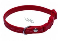B&F Obojek Koženka nastavitelný prošité vlnky červený 1,2 x 18 - 28 cm