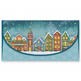 Nekupto Přání obálka na peníze vánoční Domečky 116 x 220 mm
