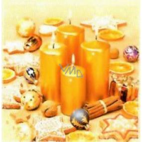 Nekupto Papírové ubrousky 3 vrstvé 33 x 33 cm 20 kusů zlaté svíčky