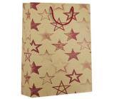 Nekupto Dárková kraftová taška 31 x 42 x 10 cm Červené hvězdy 544 KHXL