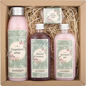 Bohemia Gifts & Cosmetics Nostalgia Spa koupelová pěna 200 ml + Sprchový gel 100 ml + Vlasový šampon 100 ml + Ručně vyráběné mýdlo 30 g, kosmetická sada