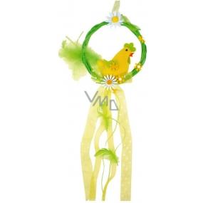 Věneček s kohoutem žlutý na zavěšení 16 cm