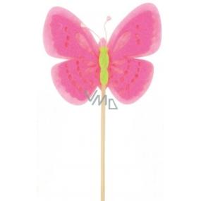 Motýl z filcu růžový zápich 7 cm + špejle