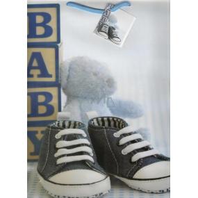 Nekupto Dárková papírová taška velká 32,5 x 26 x 13 cm modrý medvídek 1 kus 1095 40 KFL