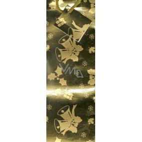 Nekupto Dárková papírová taška na láhev 33 x 10 x 9 cm zlatá zvonky GLH