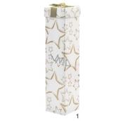 Anděl krabička skládací na lahev vánoční bílá zlaté hvězdy 34 x 8 x 8 cm