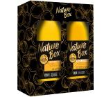 Nature Box Makadamia sprchový gel se 100% za studena lisovaným olejem, vhodné pro vegany pro jemnou pokožku 385 ml + tělové mléko 385 ml, kosmetická sada