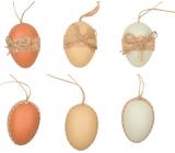 Vajíčka plastová přírodní barvy na zavěšení 6 cm, 6 kusů v sáčku
