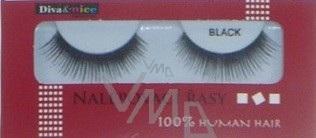 Diva & Nice Umělé řasy nalepovací 100% Human Hair č. 747M černé 1 pár